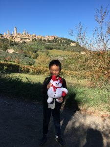 Snow puppet sighted in San Gimignano